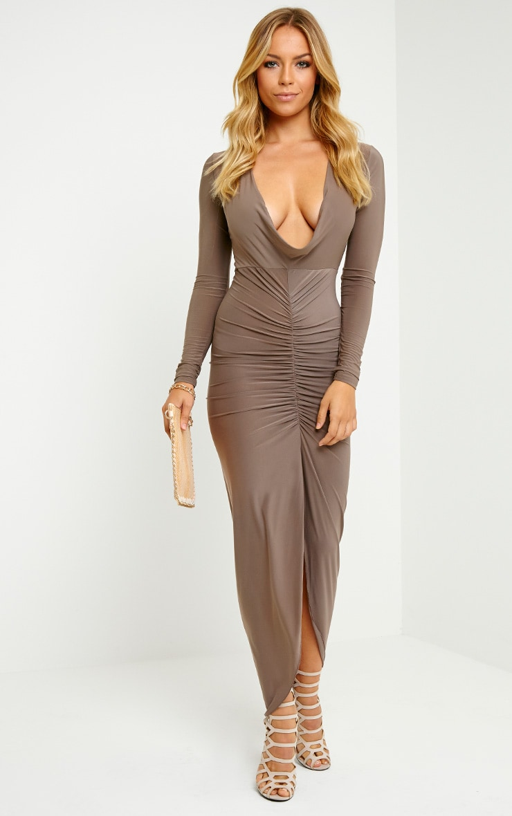 Ellie Mocha Slinky Ruched Maxi Dress 1