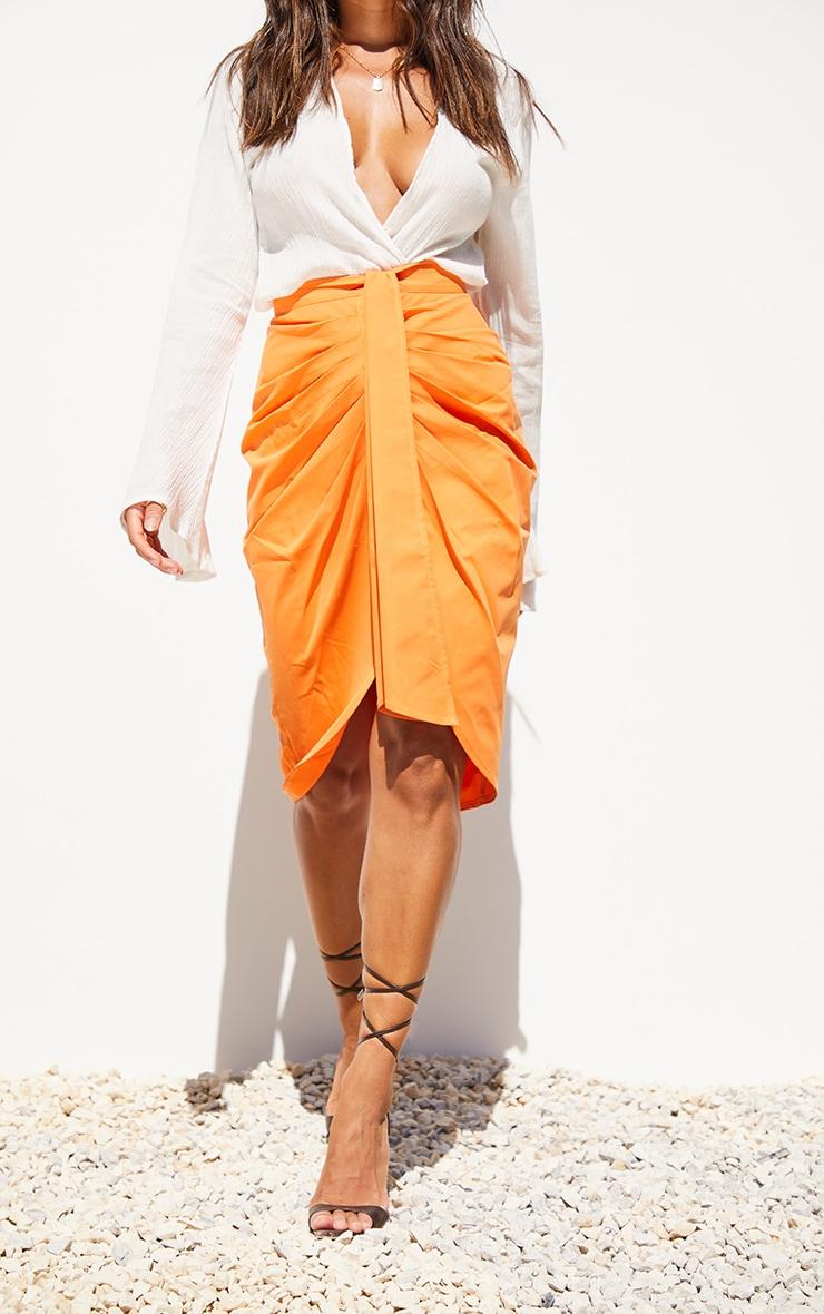 Orange Foldover Button Through Midi Skirt 2