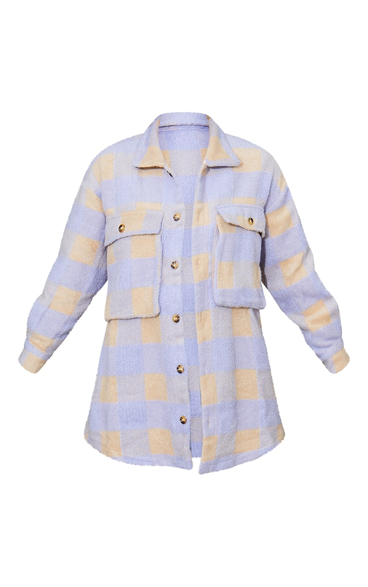Lilac Checked Wool Look Oversized Shacket 5