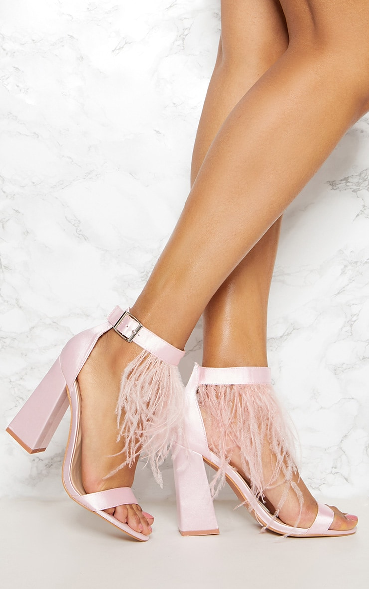 Pink Feather Block Heel Sandal