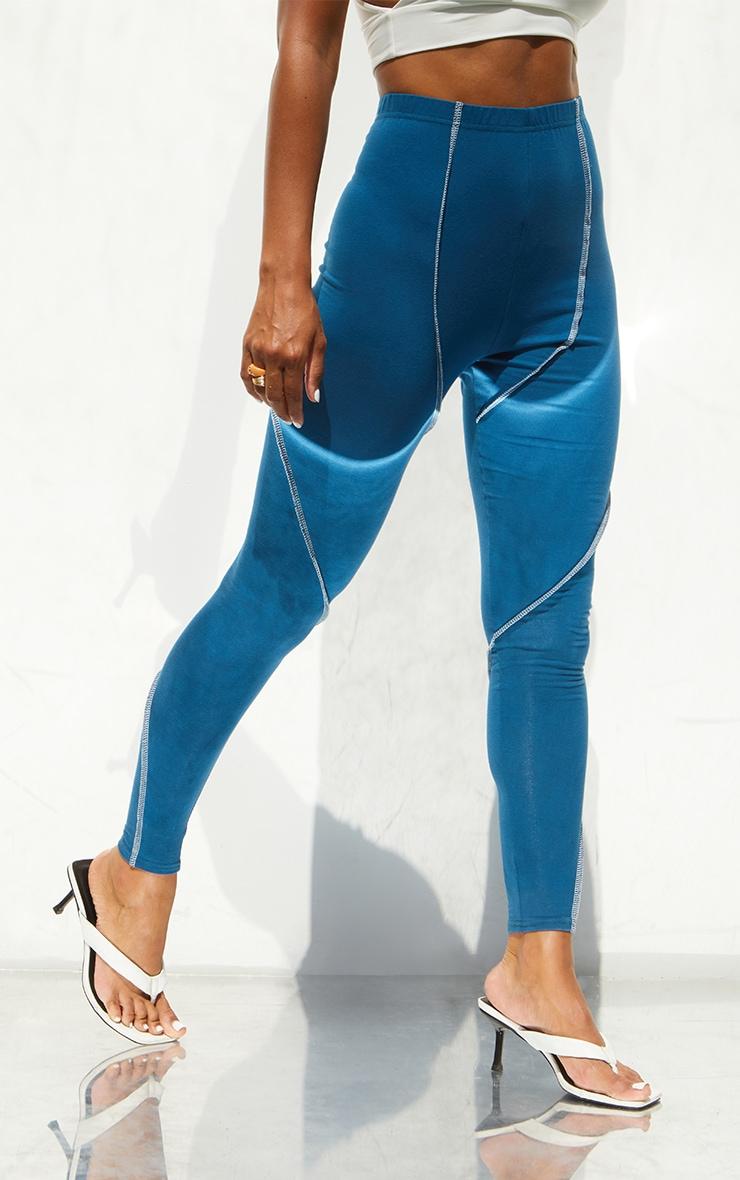Steel Blue Asymmetric Seam Detail Leggings 2