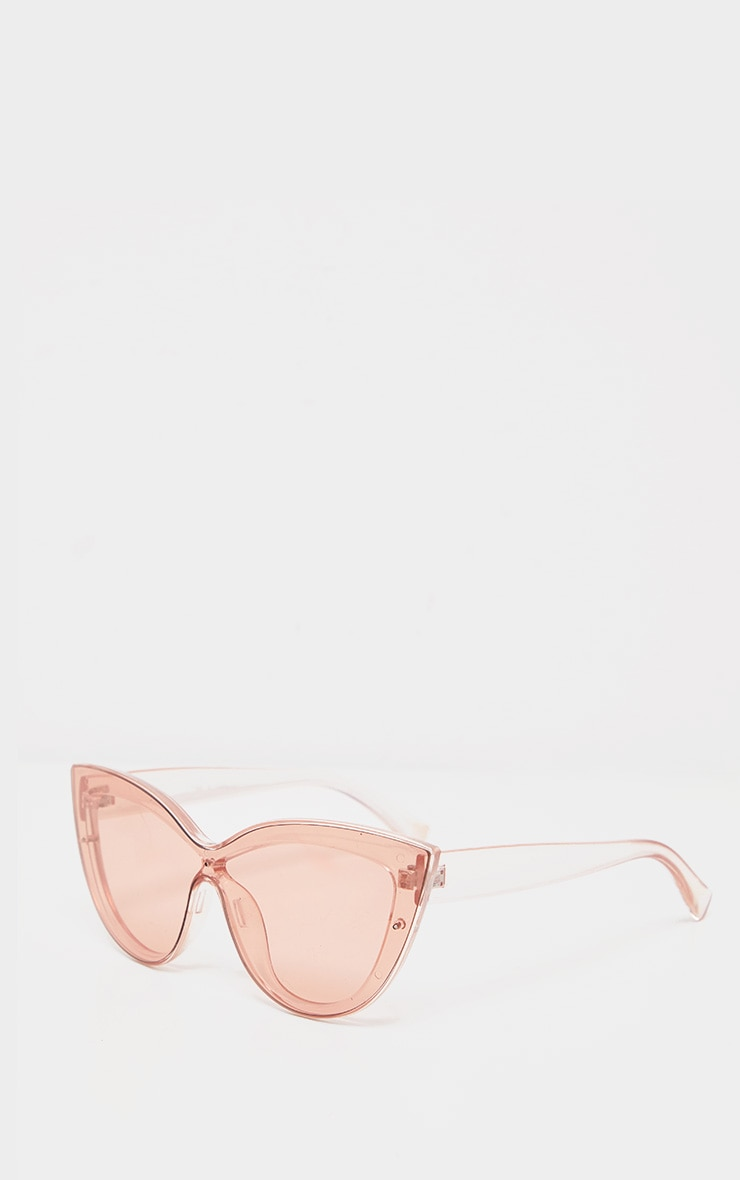 Peach Transparent Oversized Cat Eye Sunglasses 2