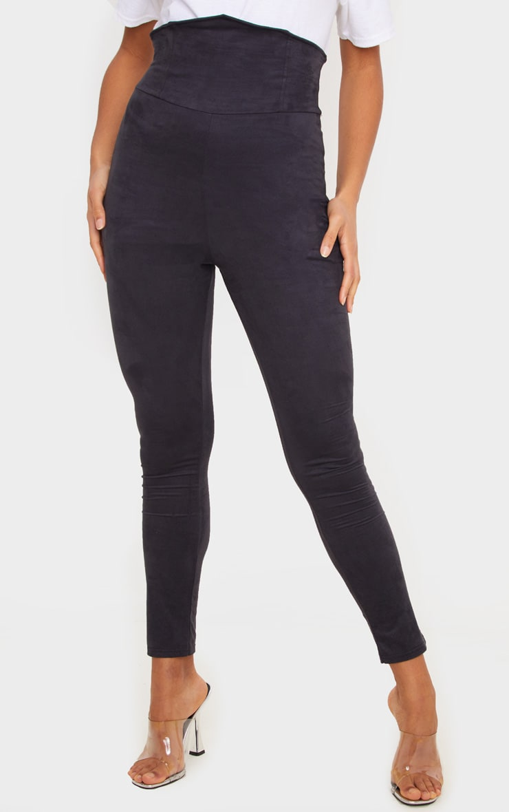 Black Faux Suede Corset Waist Legging 2
