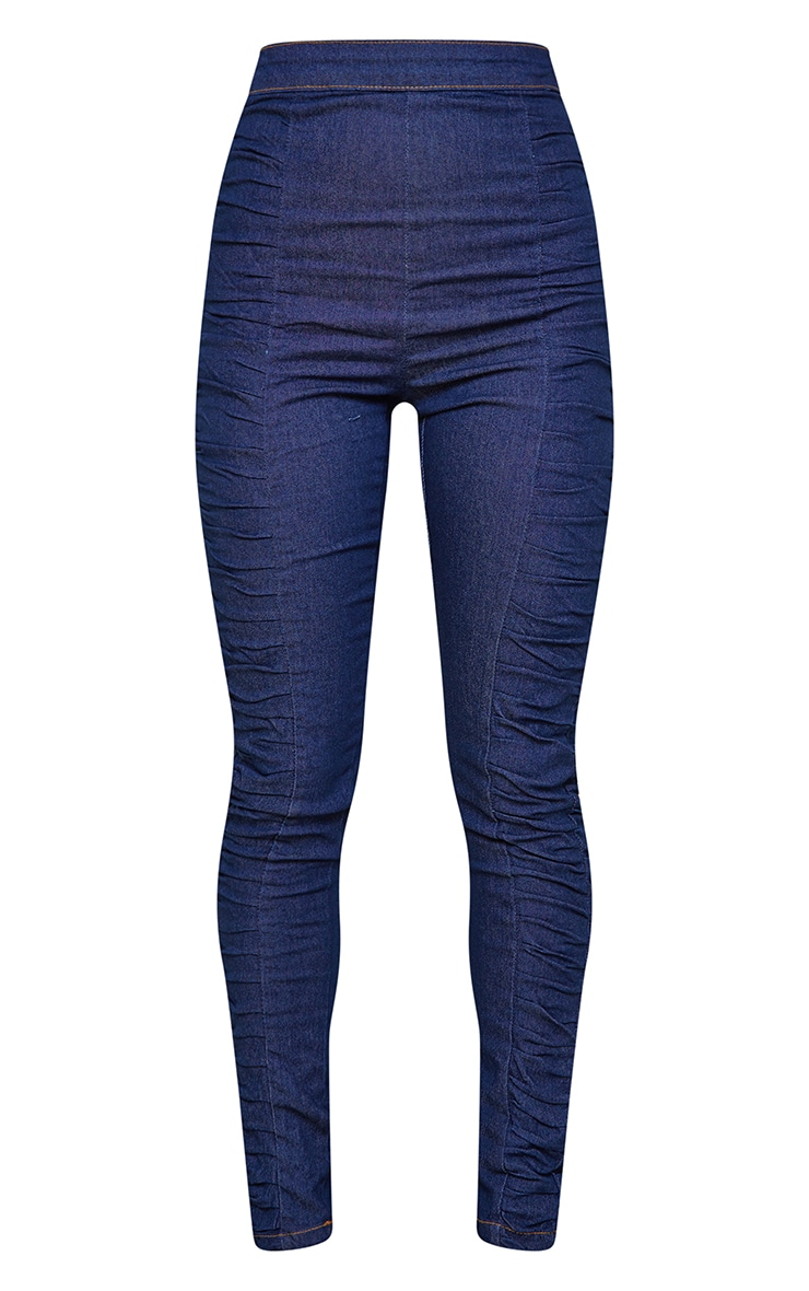 Dark Blue Wash Ruched Detail Jeans 5