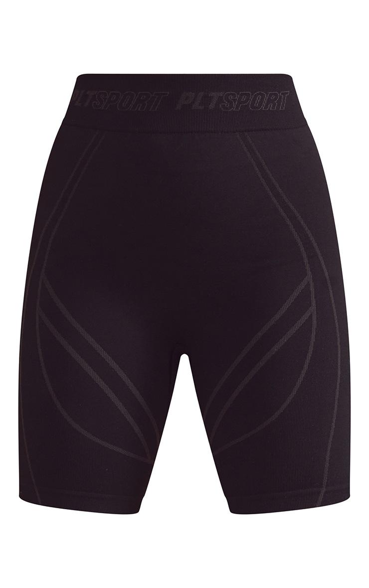 Black Seamless Contour Detail Bike Shorts 6
