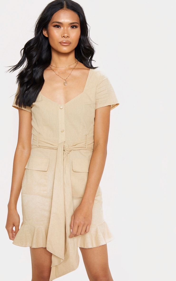 Stone Button Through Frill Shift Dress 1