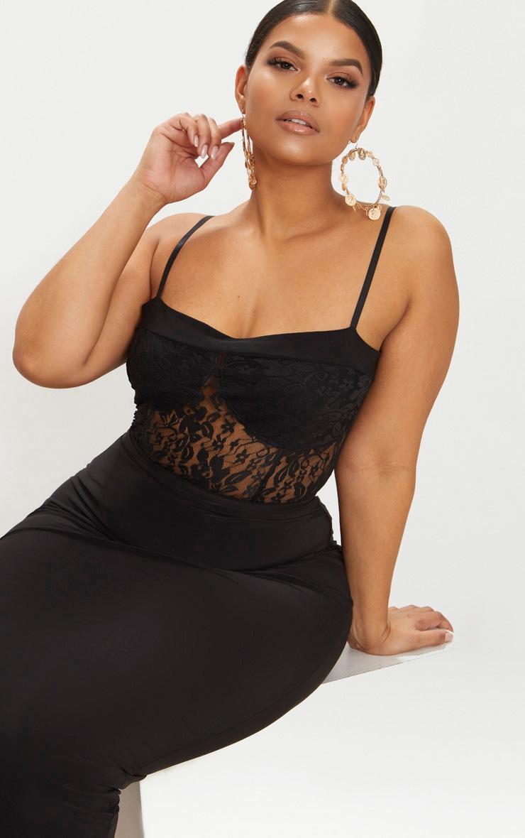 Plus Black Second Skin Lace Square Neck Thong Bodysuit  1