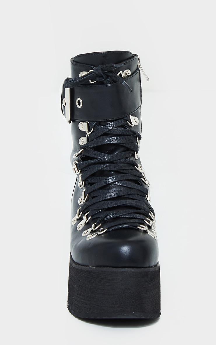 Black Buckle Lace Up Detail Eyelet Platform Heeled Boots 4