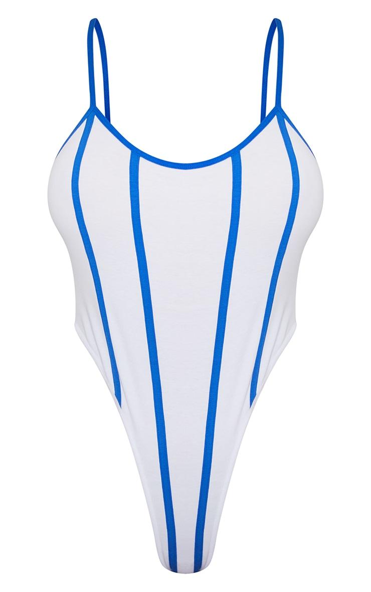 White Stripe Contrast Binding Detail Strappy Bodysuit 5