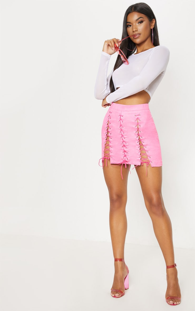 Hot Pink Faux Suede Lace Up Detail Mini Skirt 6