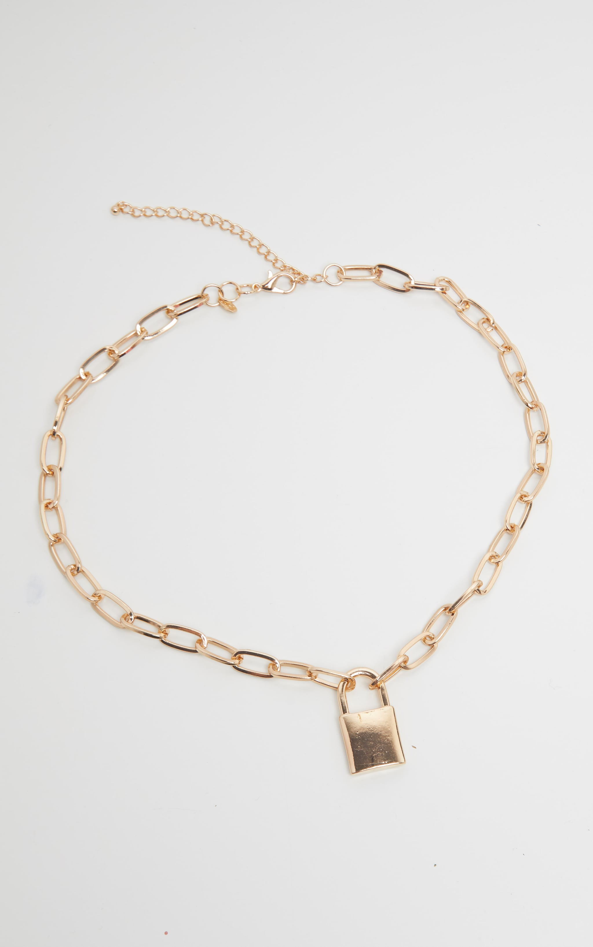 Gold Padlock Chunky Chain Necklace 3