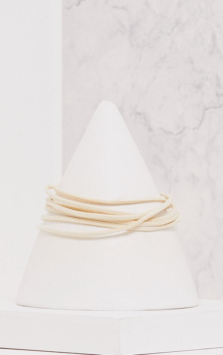 Selicia Cream Wrap Cross Choker 3