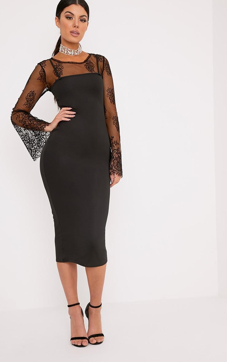 Jamila Black Straight Neck Midi Dress 4