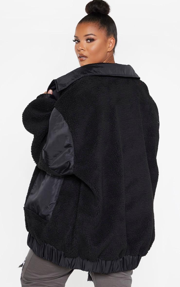 Plus Black Borg Contrast Trim Pocket Front Coat 2