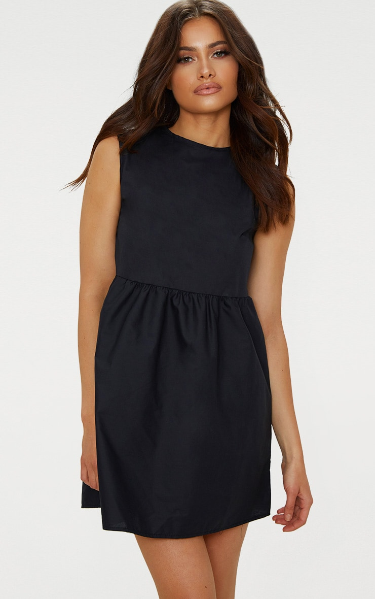Black Sleeveless Smock Dress 4