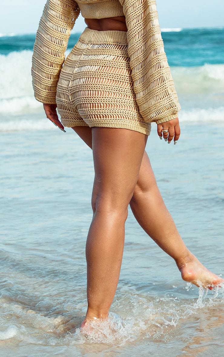Stone Open Stitch Ladder Detail Knitted Shorts 2