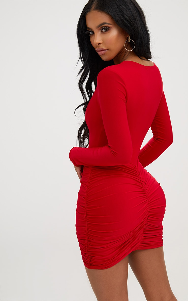 Shape Red Slinky Ruched Mini Dress 2