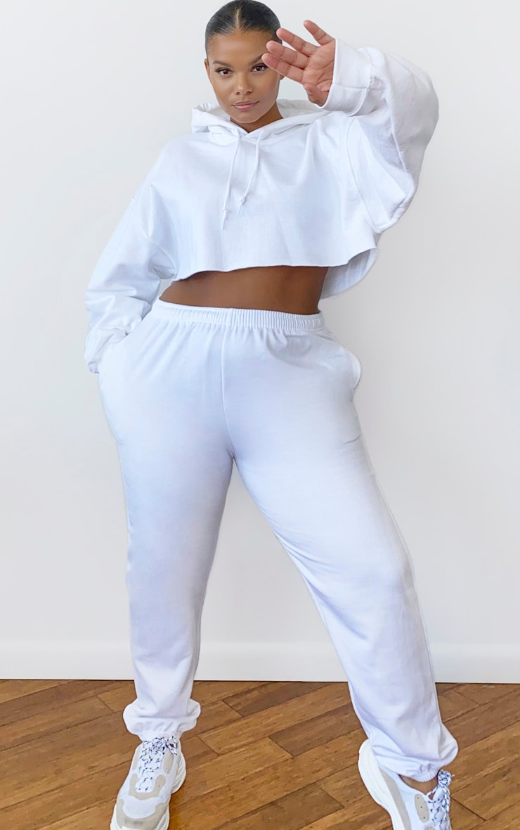Plus White Ultimate Oversized Crop Hoodie 3