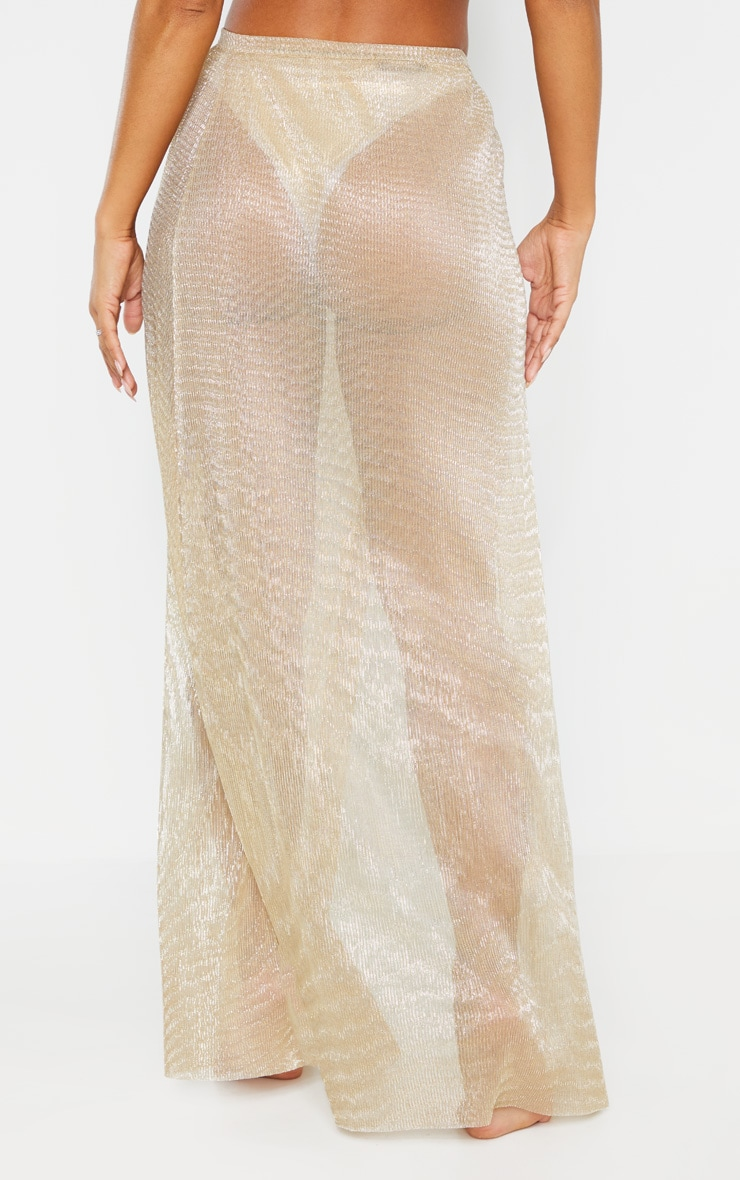 Gold Metallic Plisse Beach Sarong 4