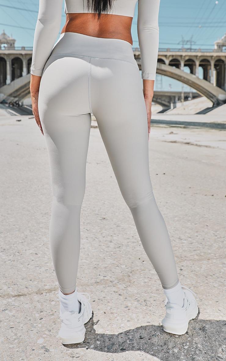 PRETTYLITTLETHING Premium Grey Sport High Waist Leggings 3
