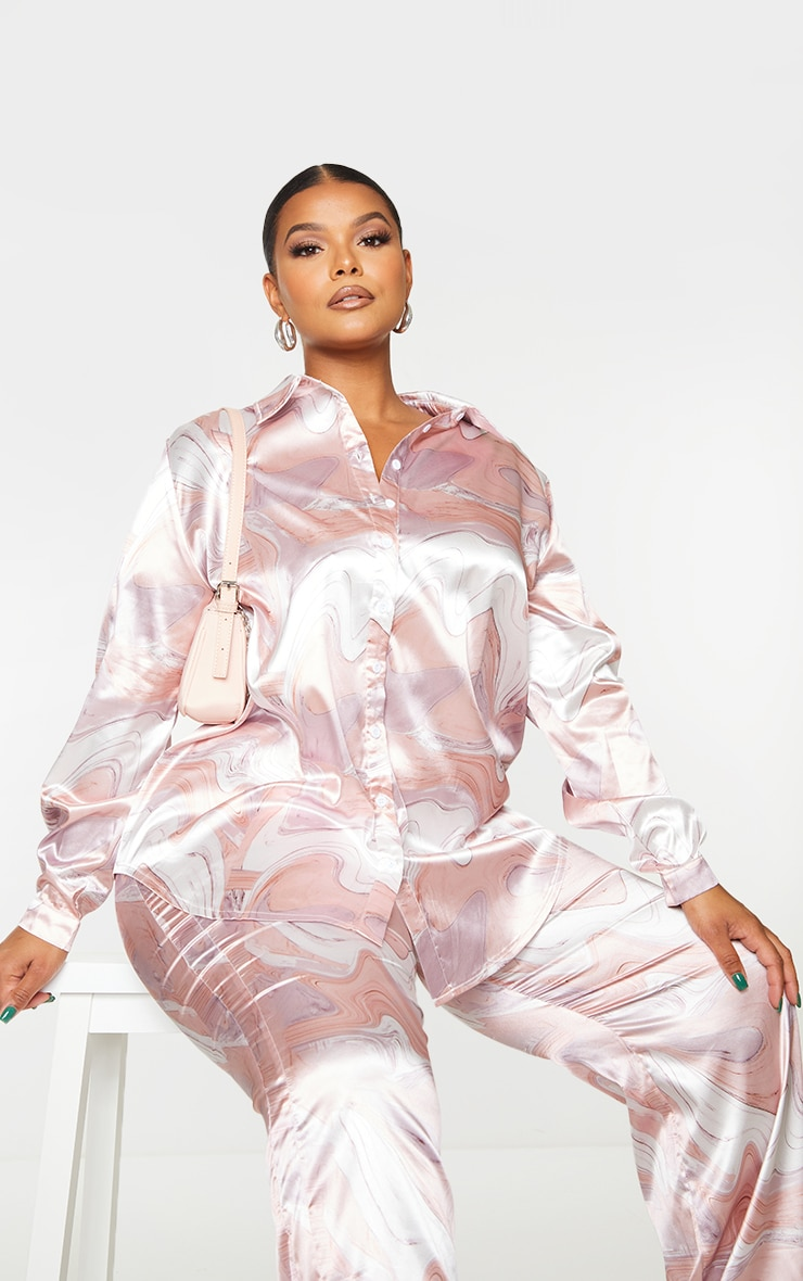 Plus Baby Pink Marble Print Oversized Shirt 1