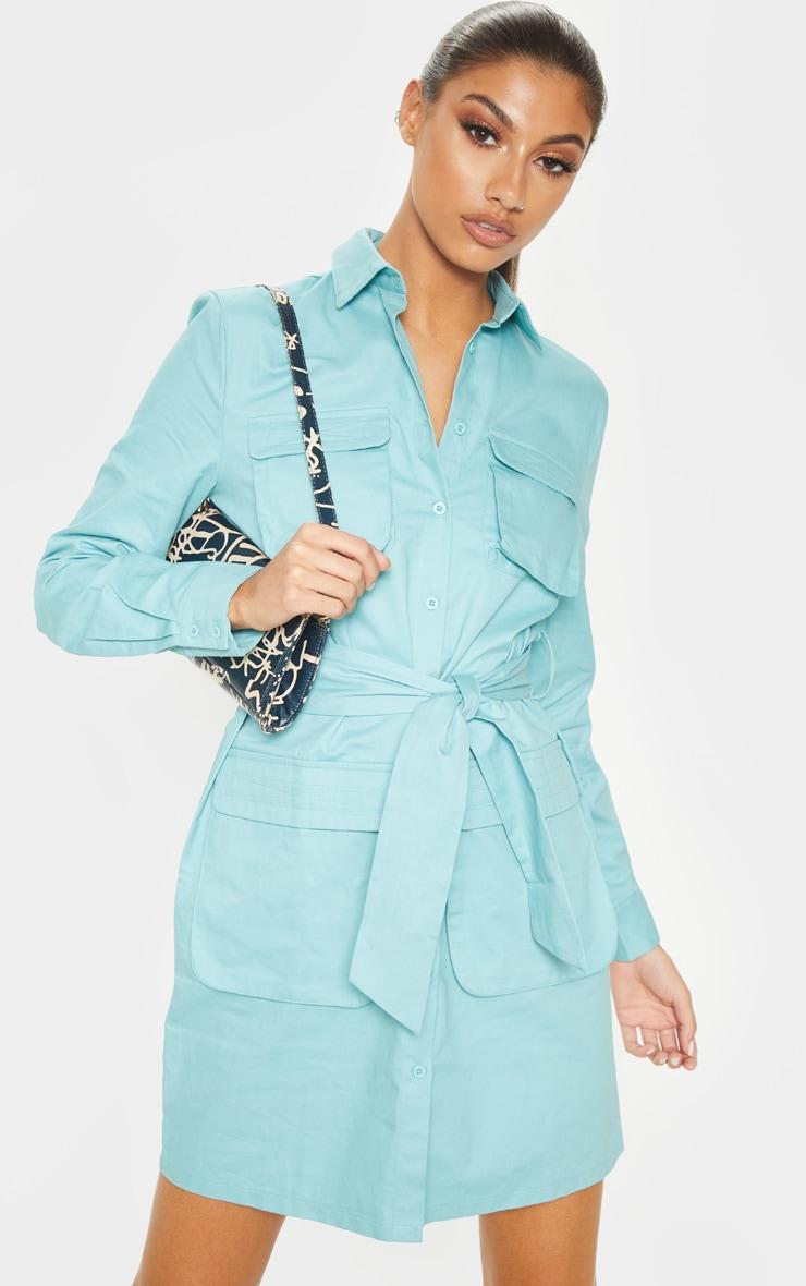 Tall Dusty Turquoise Utility Tie Waist Shirt Dress  4