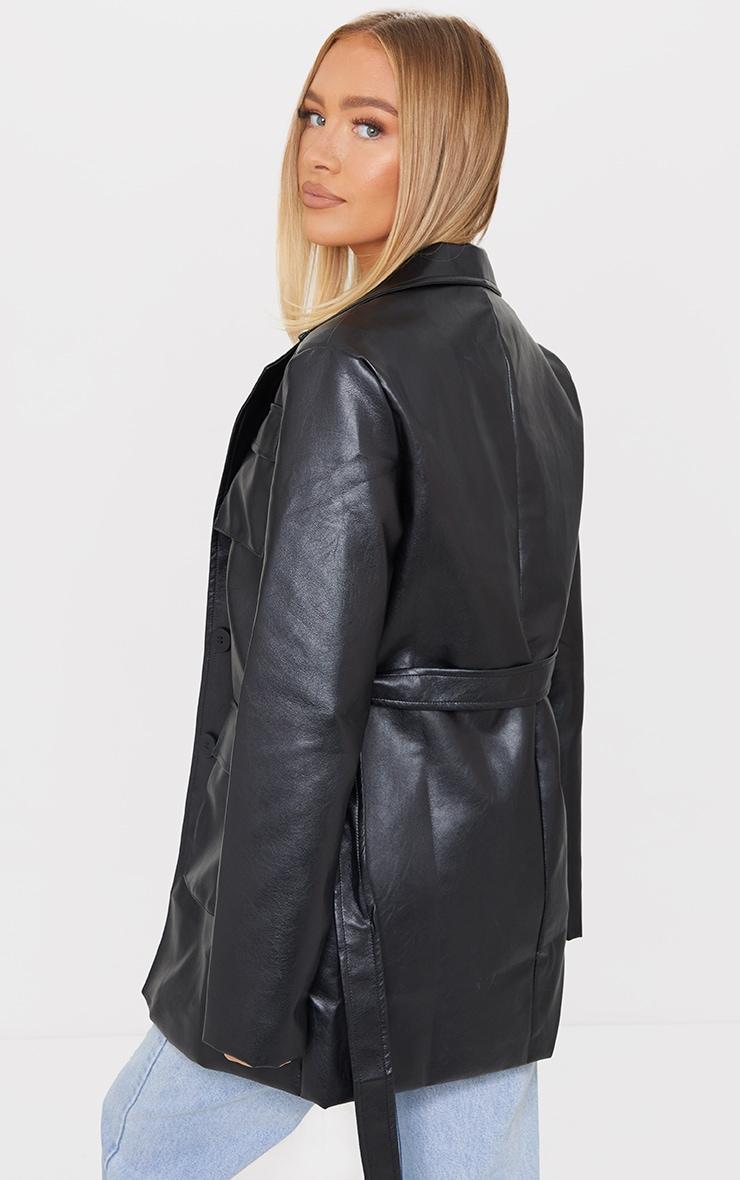 Black PU Longline Pocket Front Jacket 2