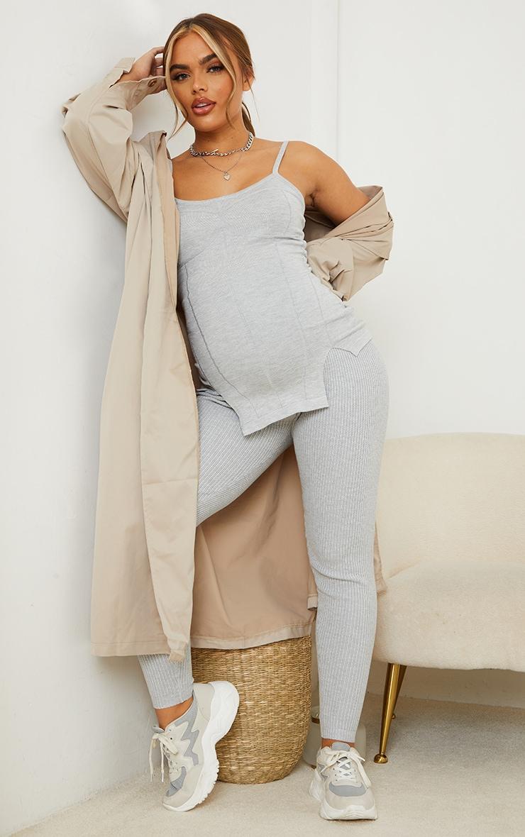Maternity Grey Bump Shaping Knitted Wide Rib Leggings 1