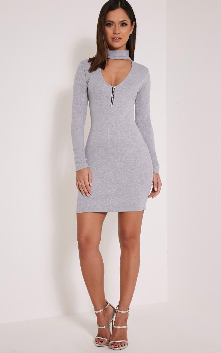Marlene Grey Plain Zip Ribbed Bodycon Dress 5