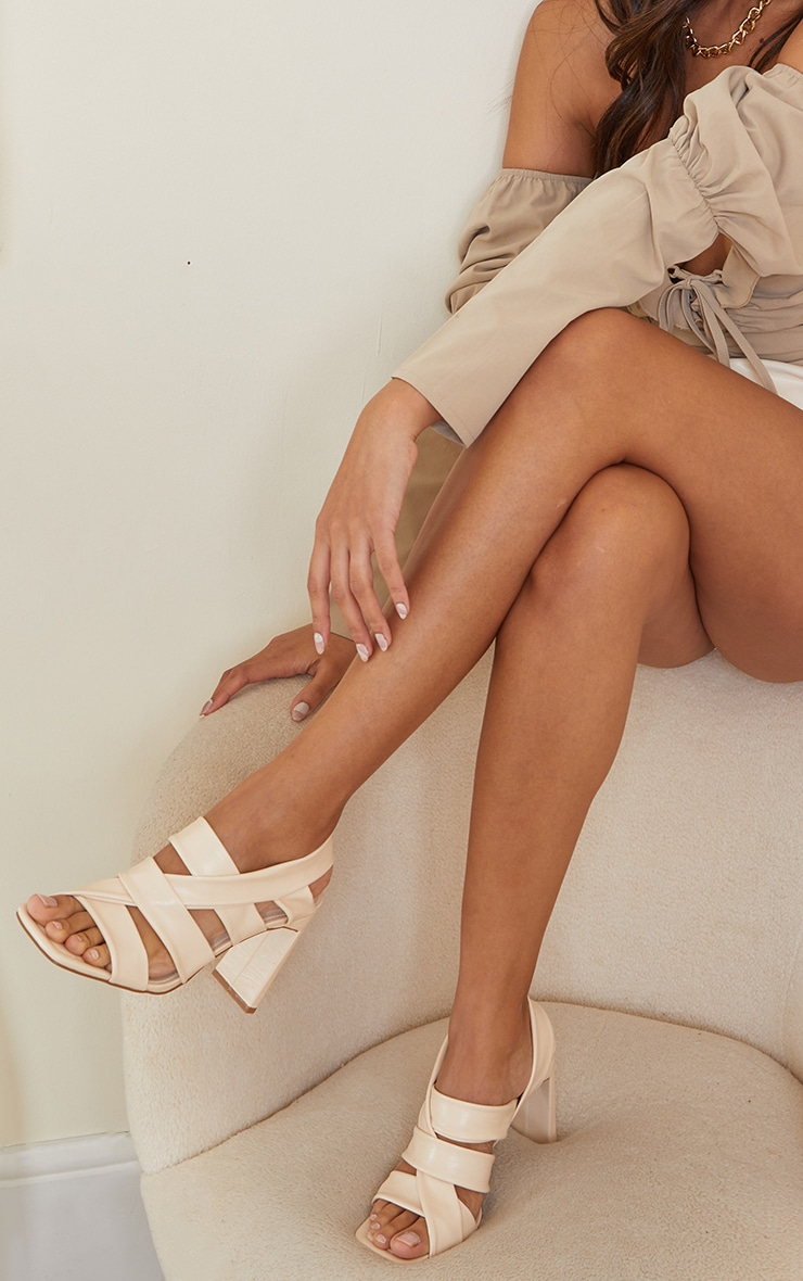 Cream PU Square Toe Quilted Weave Flat Heeled Sandals 2