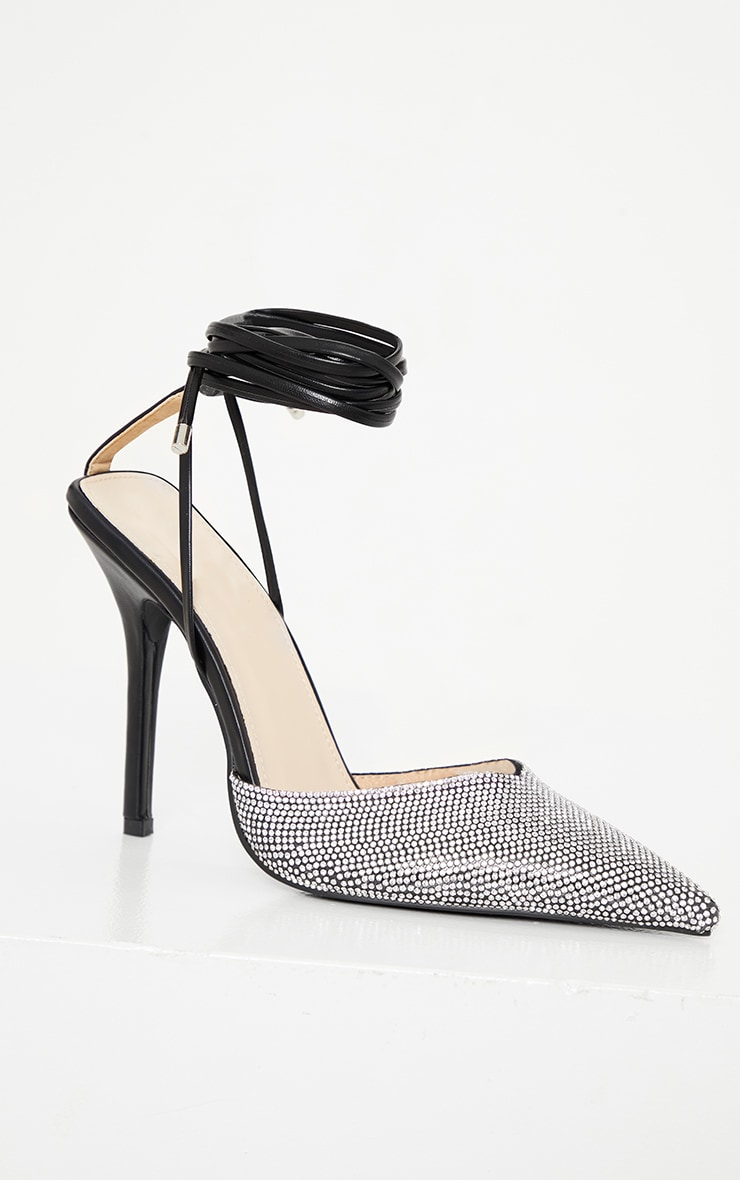 Black Diamante Toe Ankle Tie Court Shoe 4