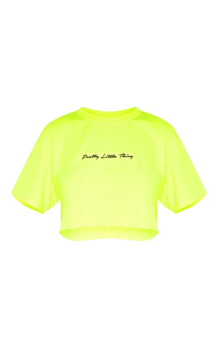 PRETTYLITTLETHING Neon Lime Embroidered Crop T Shirt 3
