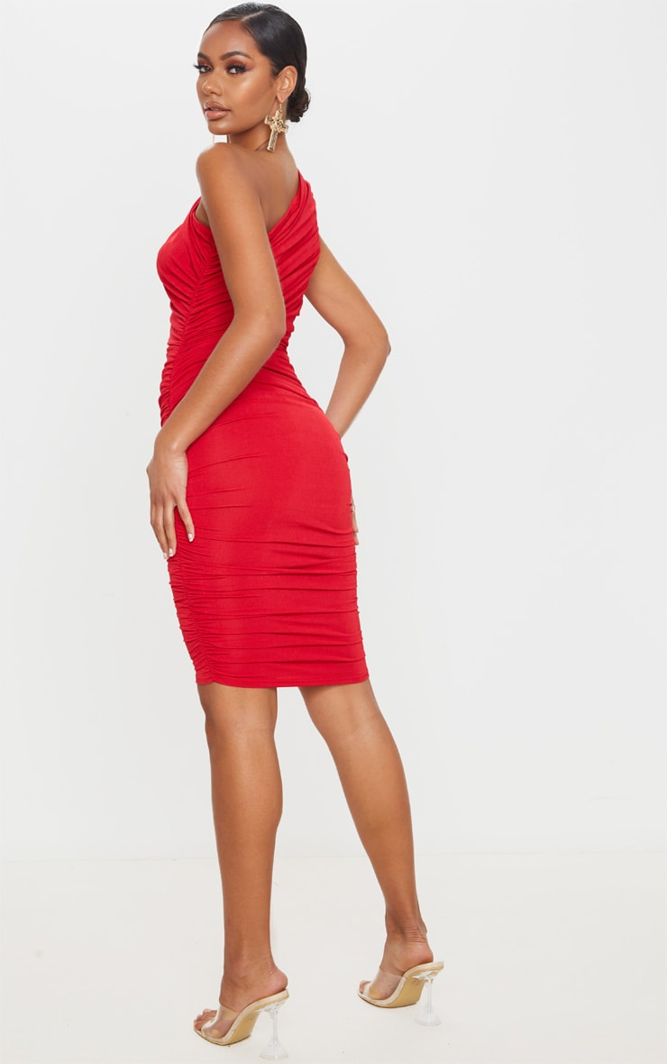 Red Slinky Ruched One Shoulder Midi Dress 2