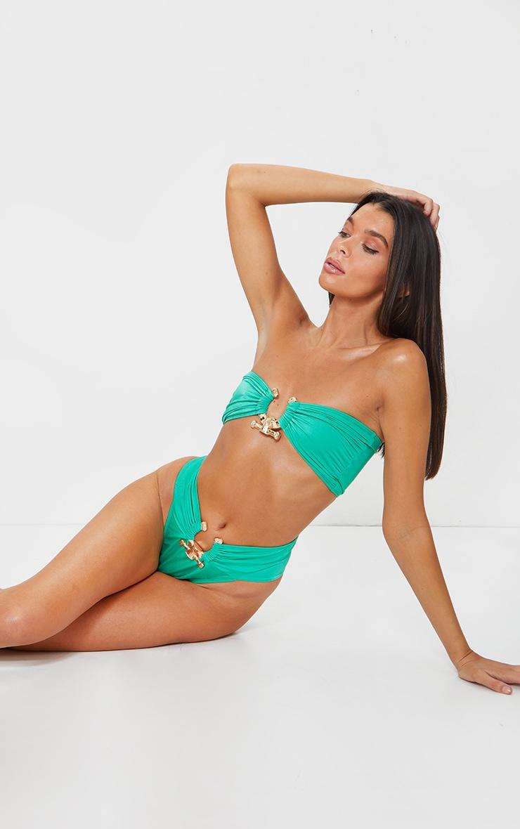 Green Hammered Trim Bikini Top 3