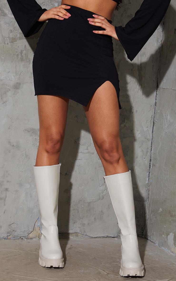 Black Cotton Frill Hem Mini Skirt 2