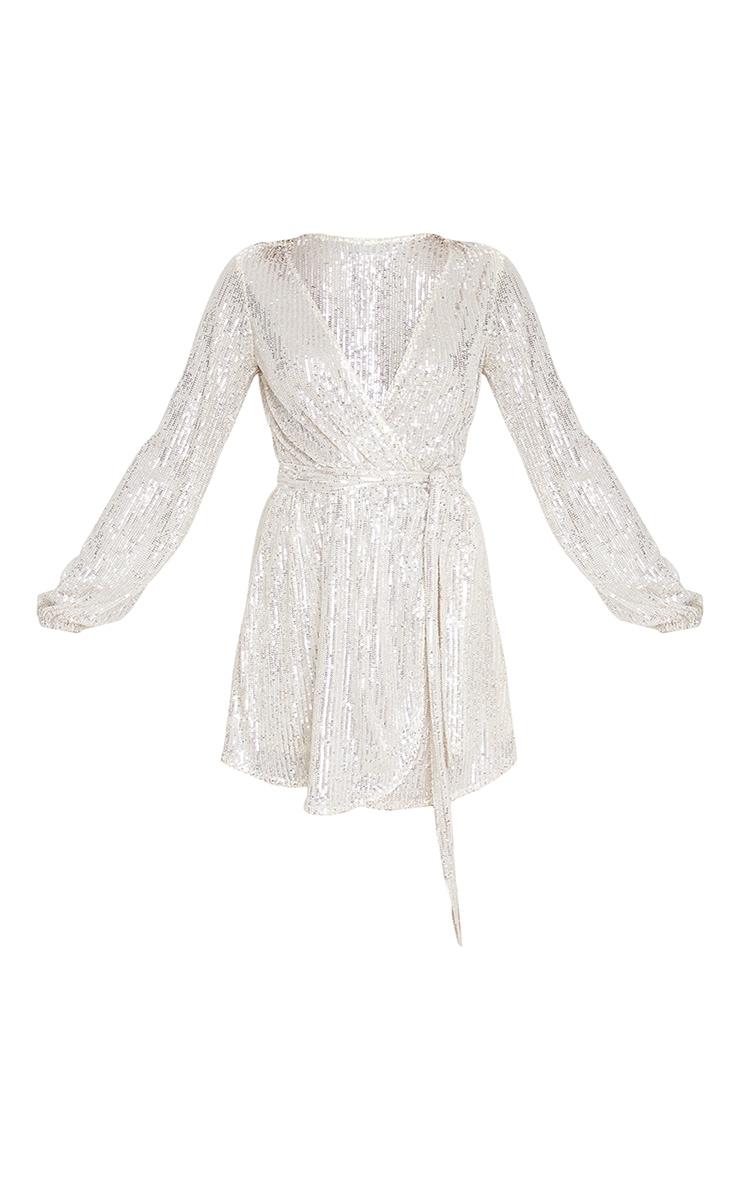 Silver Tie Waist Wrap Shift Dress 3