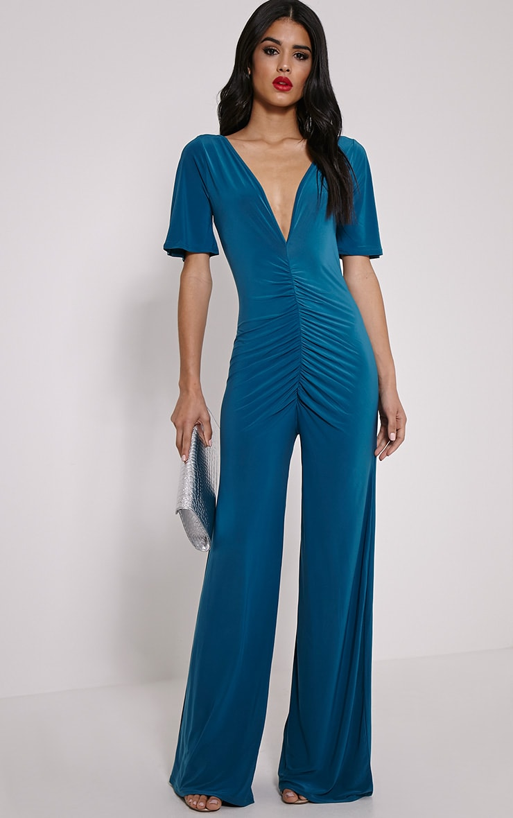 Valora Teal Slinky Ruched Front Jumpsuit 1
