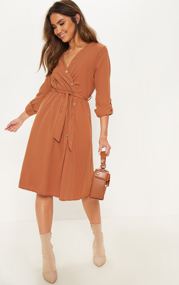 Tobacco Woven Plunge Button Detail Tie Waist Midi Dress by Prettylittlething