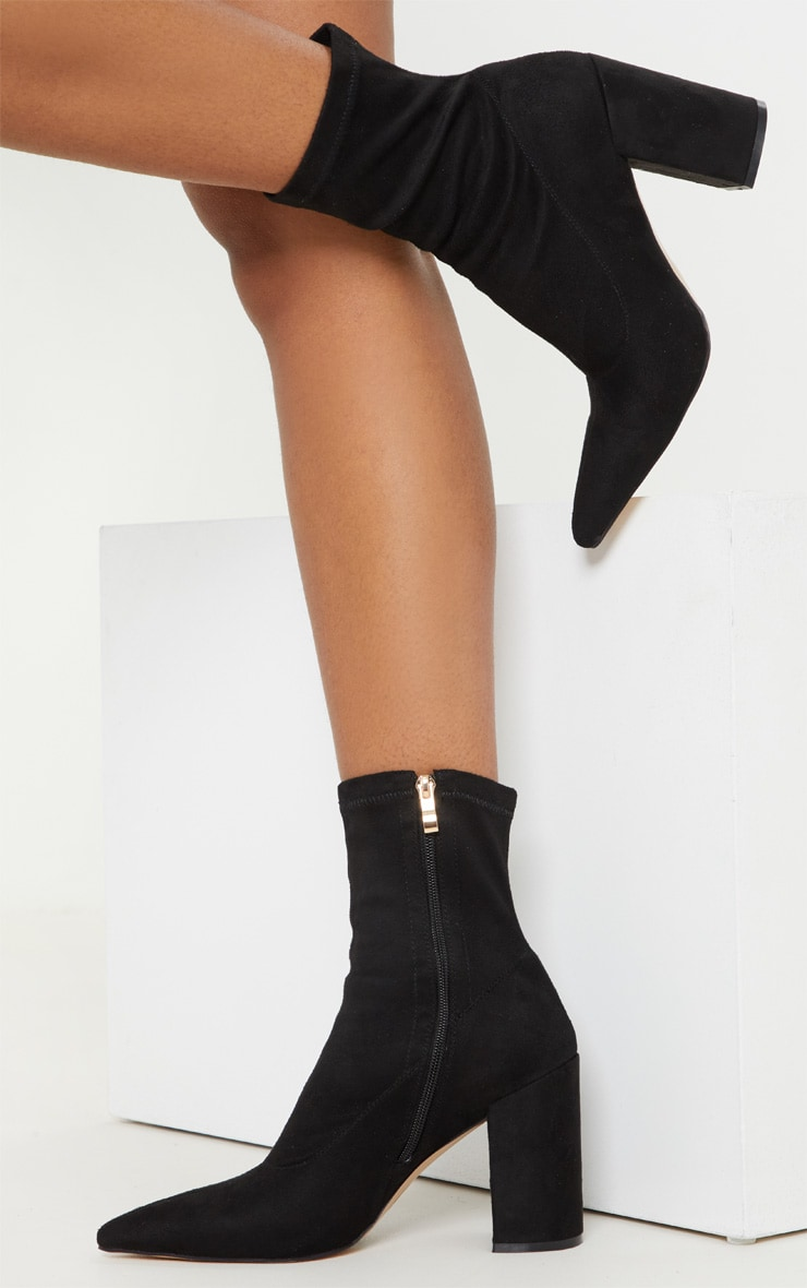 c2812879187d Black Mid Heel Point Ankle Sock Boot image 1
