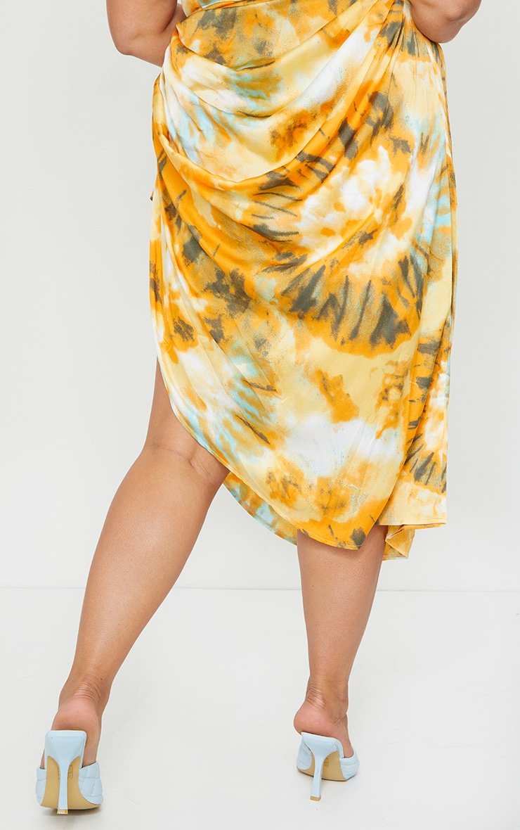 Plus Orange Tie Dye Ruched Side Midi Skirt 3