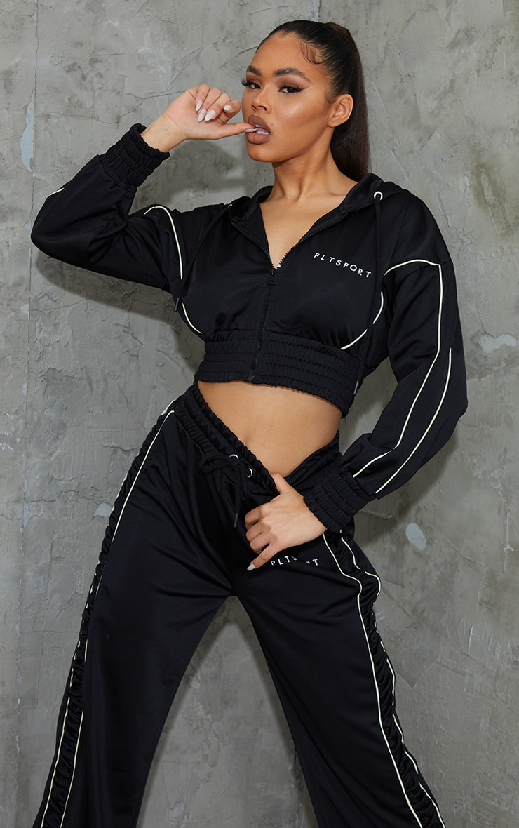 Black Piping Contrast Cropped Sports Hoody 1