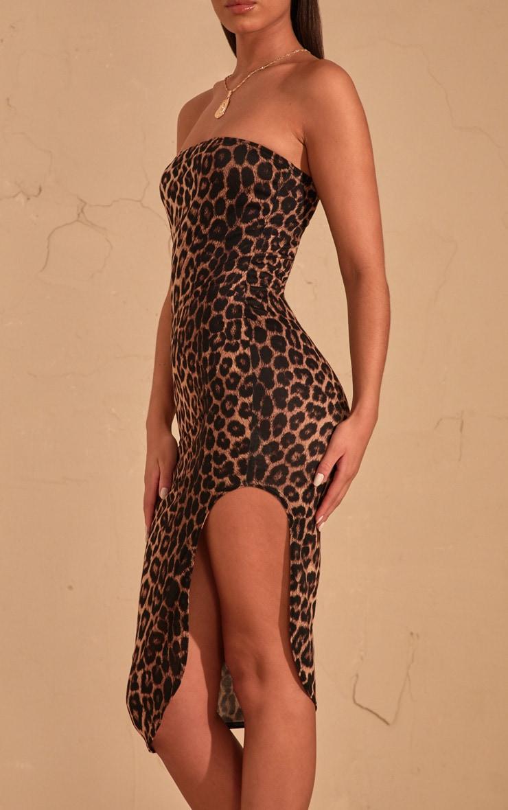 Robe mi-longue bandeau marron imprimé léopard fendue devant 5