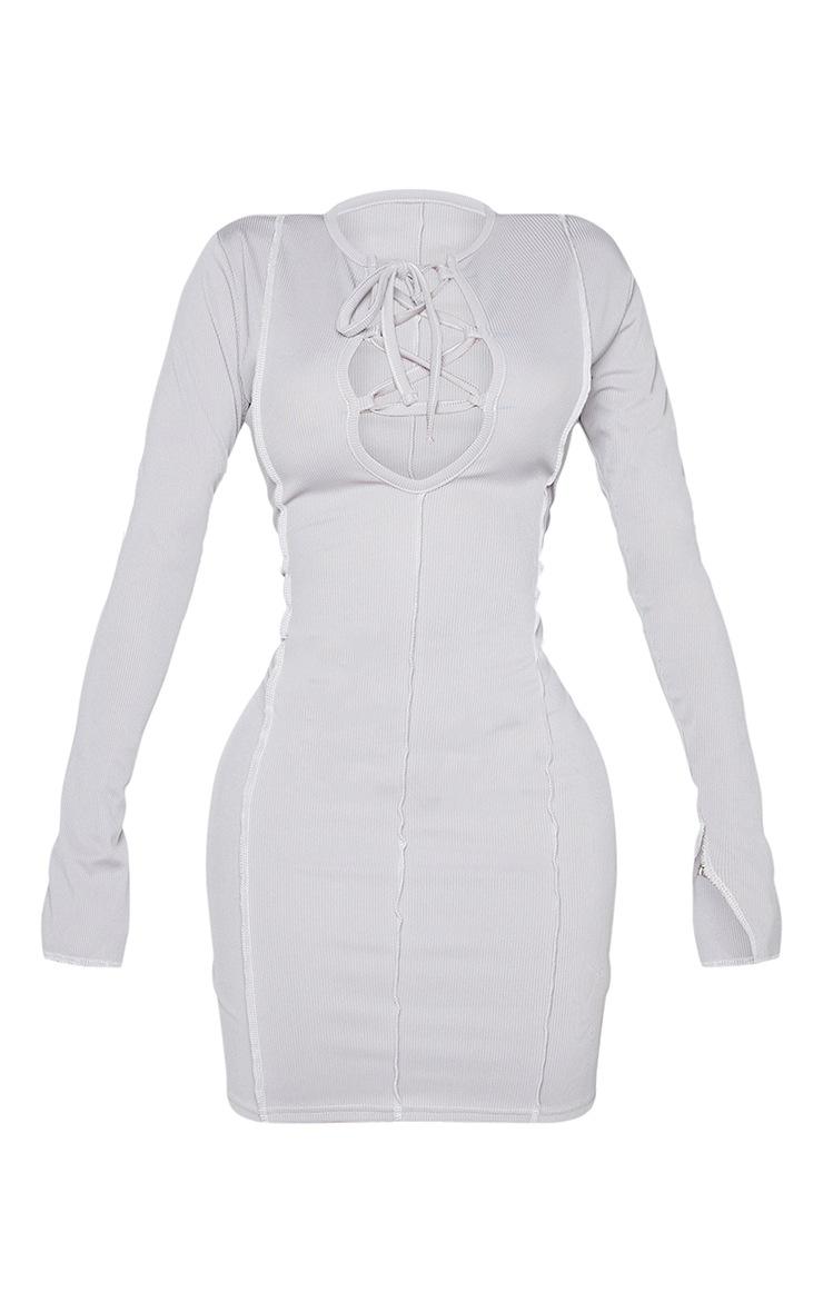 Shape Grey Rib Overlock Seam Lace Up Split Sleeve Bodycon Dress 5