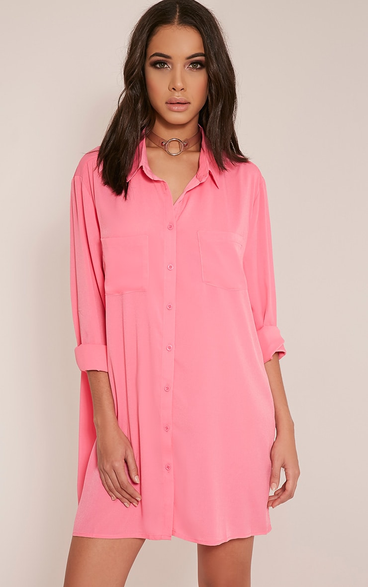 Effy Bubblegum Pink Shirt Dress 1