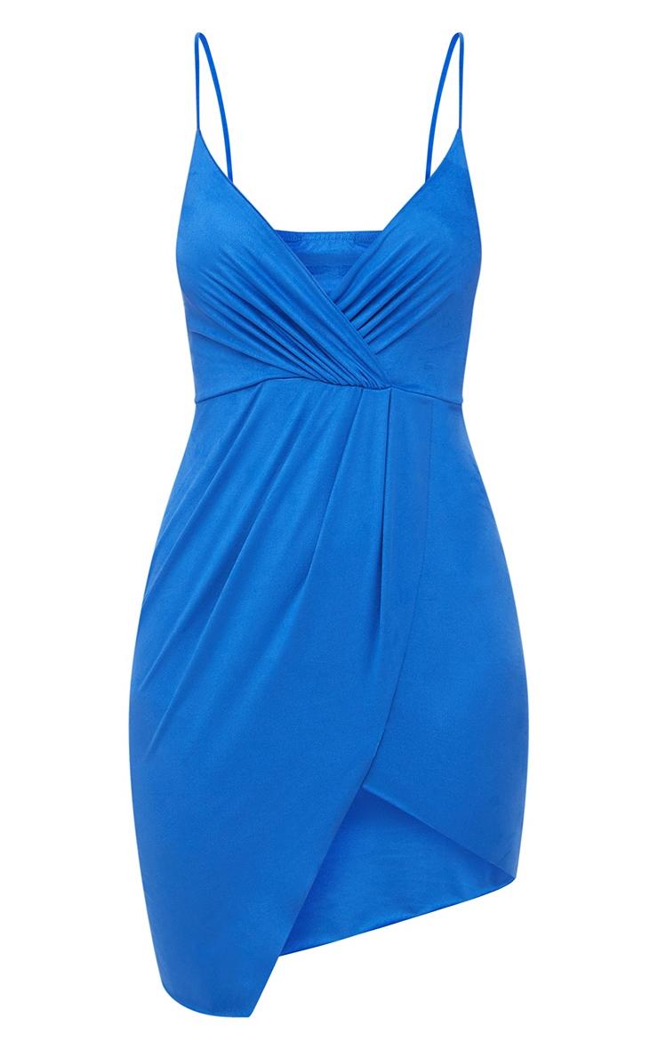 Cobalt Faux Suede Wrap front Strappy Bodycon Dress 3