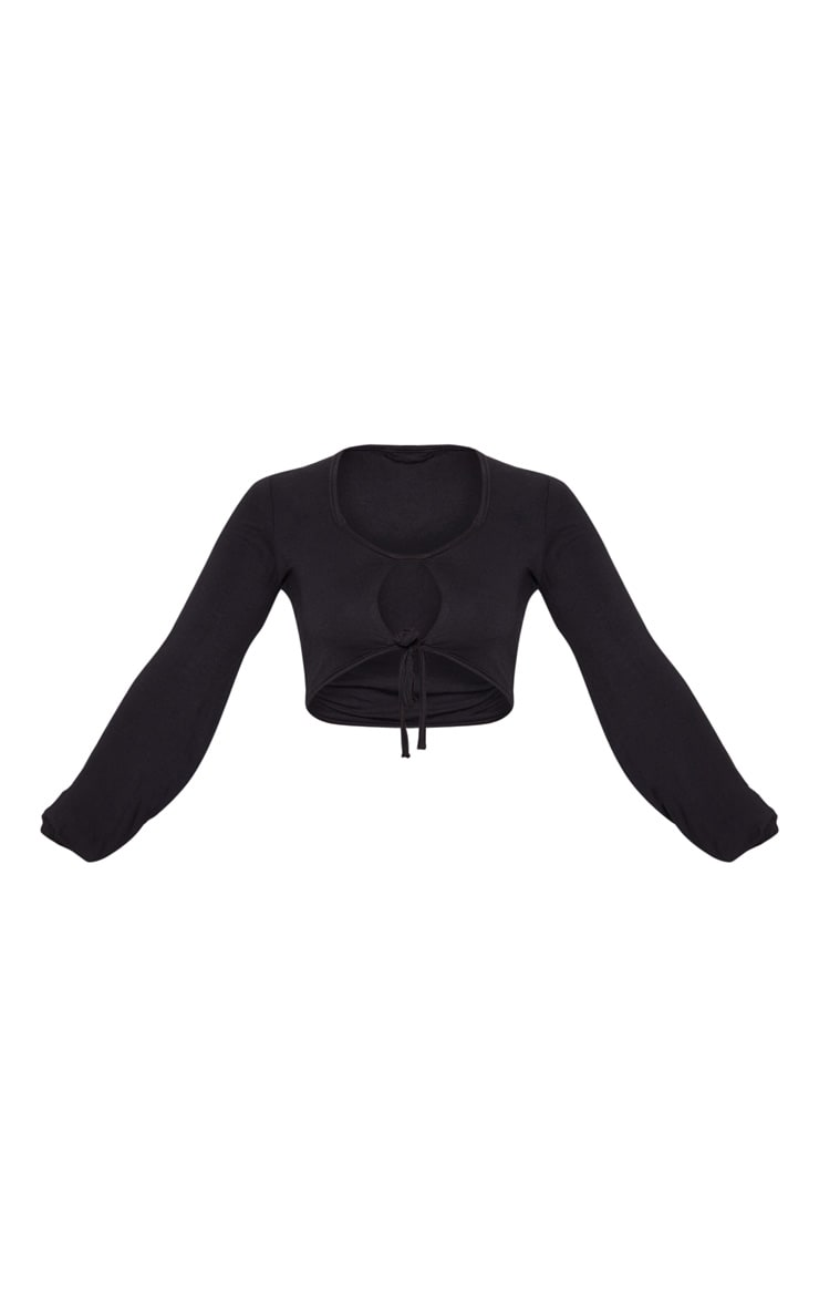 Petite Black Double Tie Long Sleeve Crop Top 3