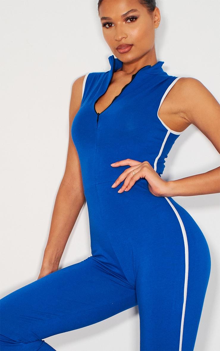 Blue Zip Detail Sports Stripe Sleeveless Jumpsuit 4