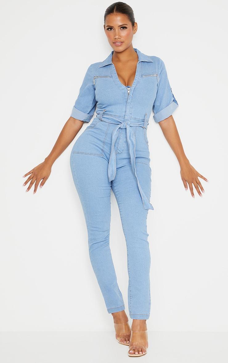 Shape - Combinaison zippée en jean bleu très délavé à manches courtes  1