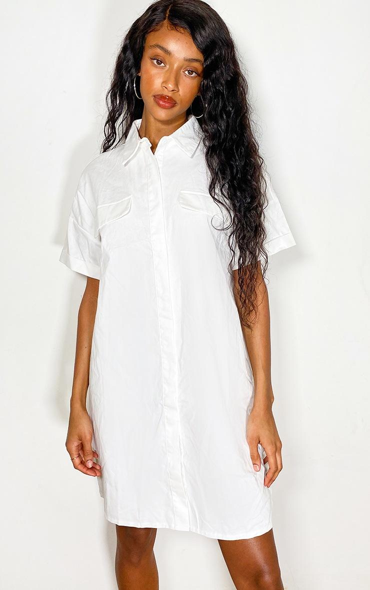 White Oversized Utility Shirt dress 3