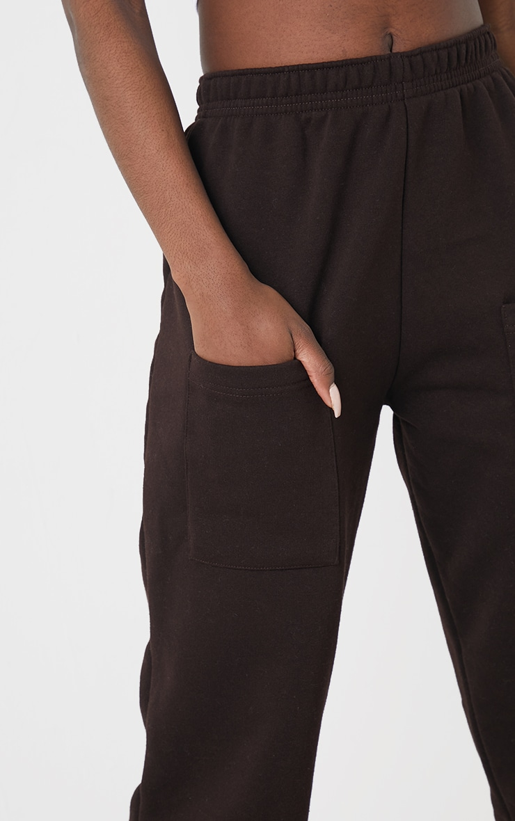 Tall Chocolate Brown Pocket Thigh Casual Joggers 4